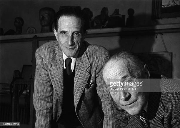 Jacques Villon and Marcel Duchamp on November 1950 in Paris France