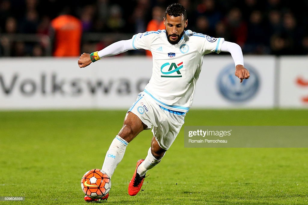 Jacques-Alaixys Romao of Olympique de Marseille in action during the French Cup match between Trelissac FC and Olympique de Marseille at Stade Chaban-Delmas on February 11, 2016 in Bordeaux, France.