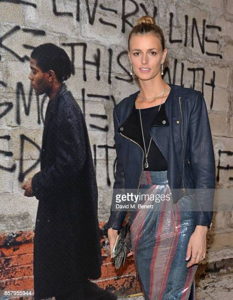 Jacquetta Wheeler attends a private view of the Basquiat exhibition cohosted by NETAPORTER in partnership with Frieze at Barbican Centre on October 5...