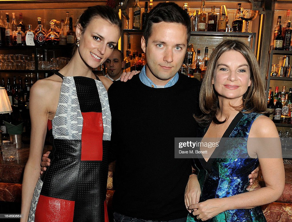 Jacquetta Wheeler, Jack McCollough and Freida Pinto attend a dinner hosted by online luxury fashion retailer NET-A-PORTER to celebrate designers Jack McCollough and Lazaro Hernandez of Proenza Schouler, and launch their exclusive capsule collection to the site, at 34 Restaurant on March 26, 2013 in London, England.