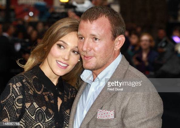 Jacqui Ainsley and Guy Ritchie attend the European premiere of 'The Dark Knight Rises' at Odeon Leicester Square on July 18 2012 in London England