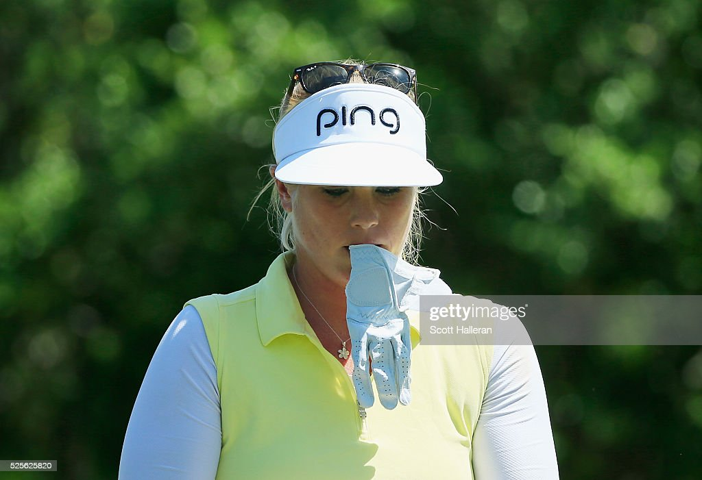 Jacqui Concolino walks on the seventh hole during the first round of the Volunteers of America Texas Shootout at Las Colinas Country Club on April 28, 2016 in Irving, Texas.