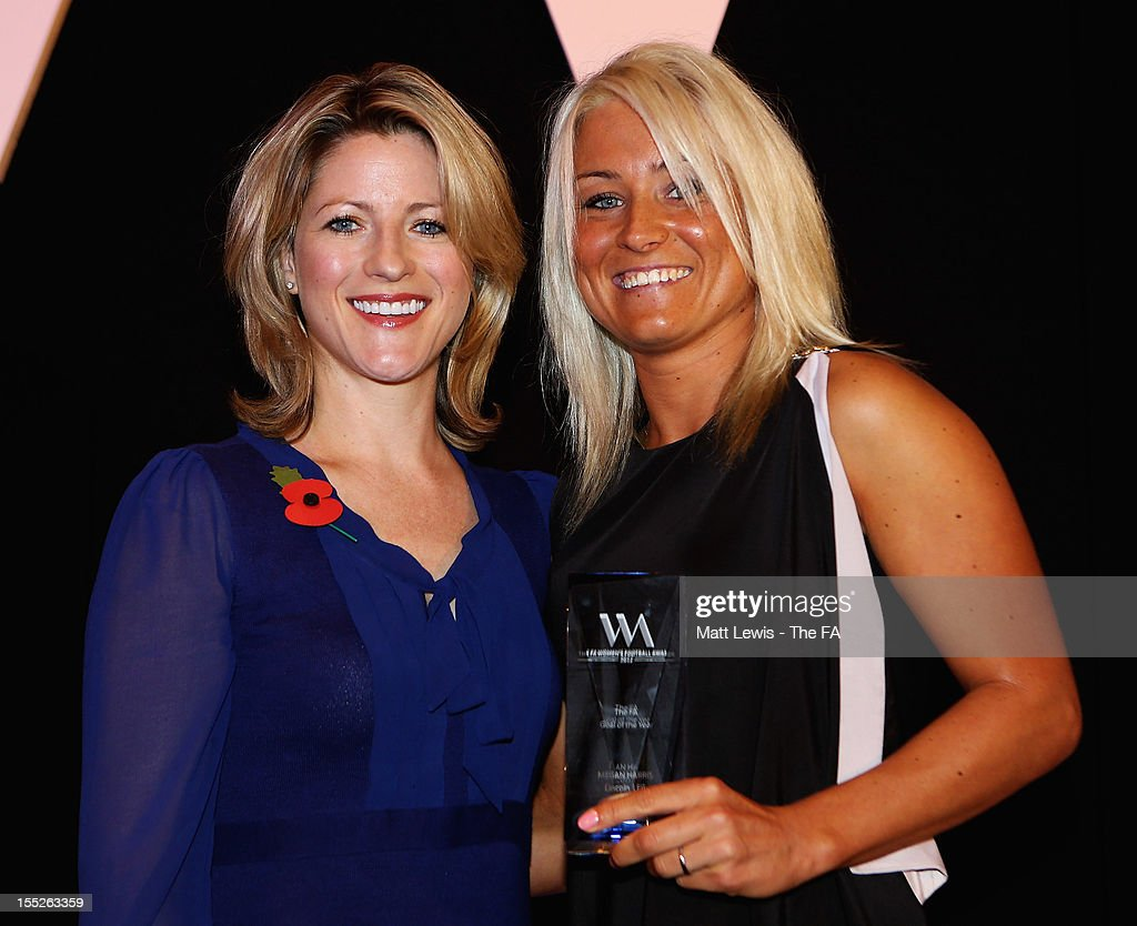 Jacqui Oatley presents Megan Harris with the 'FA Goal of the Year' award during the FA Women's Awards 2012 at the Waldorf Hilton on November 2, 2012 in London, England.