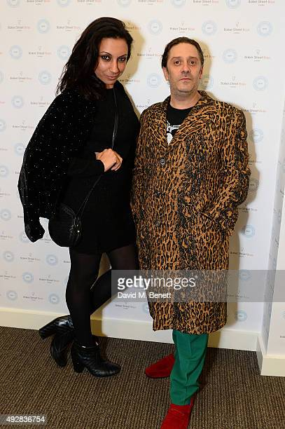 Jacqui Soliman and Bernie Katz attend as Meg Mathews and Baker Street Boys launch 'The Line' collection exhibition at Robin Partington Partners on...