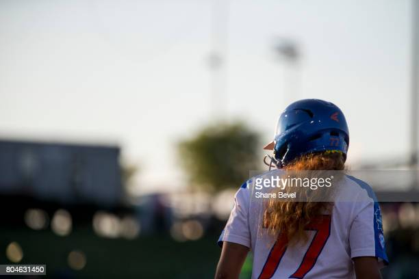 Jacqui Switzer of the University of Florida waits at first base during the Division I Women's Softball Championship held at ASA Hall of Fame...
