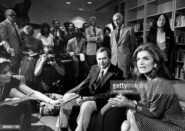 Jacquline Kennedy Onassis right and Patrick Hemingway Ernest Hemingway's son talk at the dedication of the Hemingway Room within the John F Kennedy...