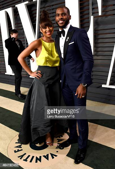 Jada Crawley and NBA player Chris Paul attend the 2015 Vanity Fair Oscar Party hosted by Graydon Carter at the Wallis Annenberg Center for the...