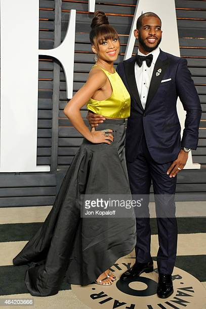 Jada Crawley and NBA player Chris Paul attend the 2015 Vanity Fair Oscar Party hosted by Graydon Carter at Wallis Annenberg Center for the Performing...