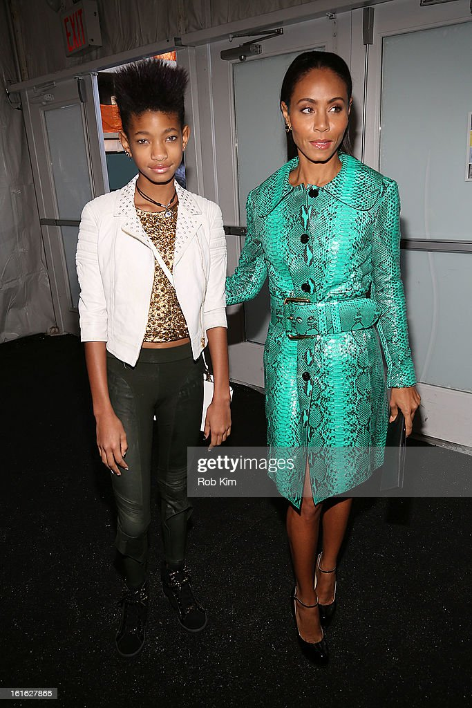 Jada Koren Pinkett Smith and daugher <a gi-track='captionPersonalityLinkClicked' href=/galleries/search?phrase=Willow+Smith&family=editorial&specificpeople=869488 ng-click='$event.stopPropagation()'>Willow Smith</a> are seen during Fall 2013 Mercedes-Benz Fashion Week at Lincoln Center for the Performing Arts on February 13, 2013 in New York City.