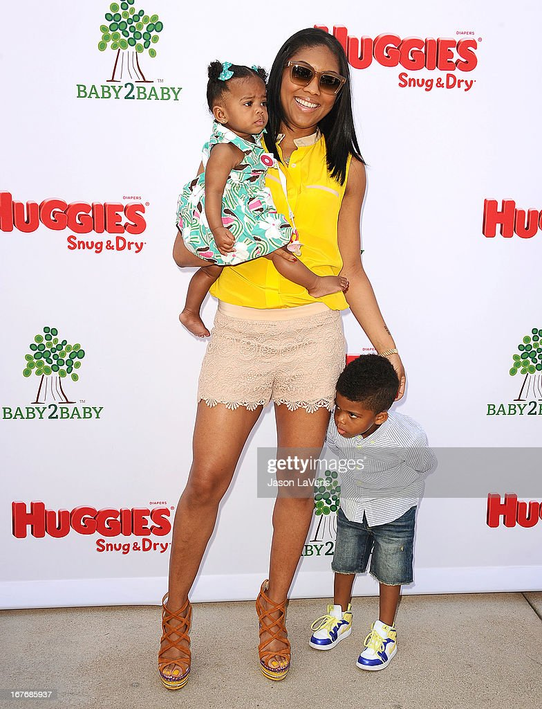 Jada Paul, daughter Camryn Alexis Paul and son Christopher Emmanuel Paul II attend the Baby2Baby Mother's Day garden party on April 27, 2013 in Los Angeles, California.