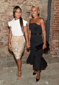 Jada Pinket Smith with her mother Adrienne Banfield Jones attend Christian Siriano during MercedesBenz Fashion Week Spring 2015 at Eyebeam Atelier on...