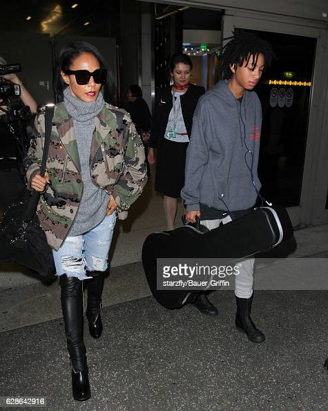 Jada Pinkett and Willow Smith are seen at LAX on December 08 2016 in Los Angeles California