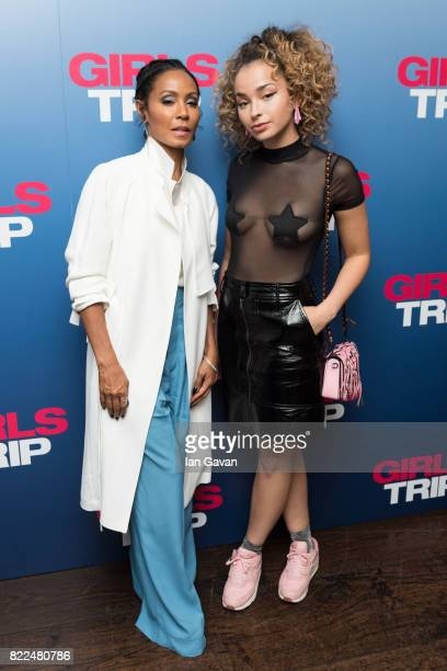 Jada Pinkett Smith and Ella Eyre attend a special screening of Girls Trip at the Soho Hotel on July 25 2017 in London England
