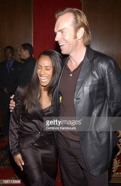 Jada Pinkett Smith and Hugo Weaving during 'Matrix Reloaded' New York Premiere Inside Arrivals at Ziegfeld Theater in New York City New York United...