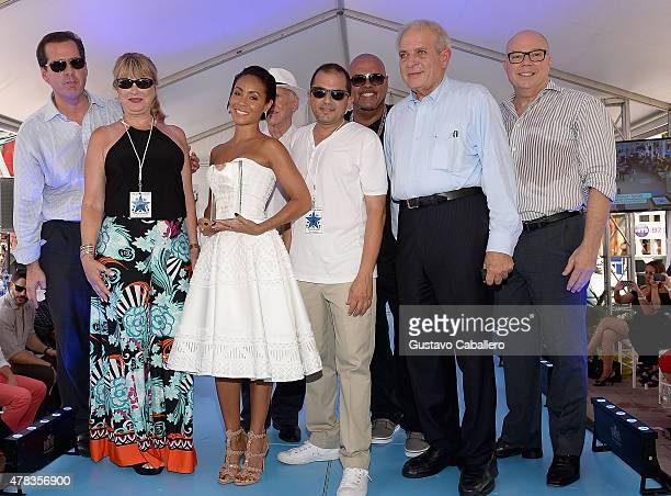 Jada Pinkett Smith and Miami Mayor Tomas Pedro Regalado attends Magic Mike XXL cast honored with stars on The Official Miami Walk Of Fame at Bayside...