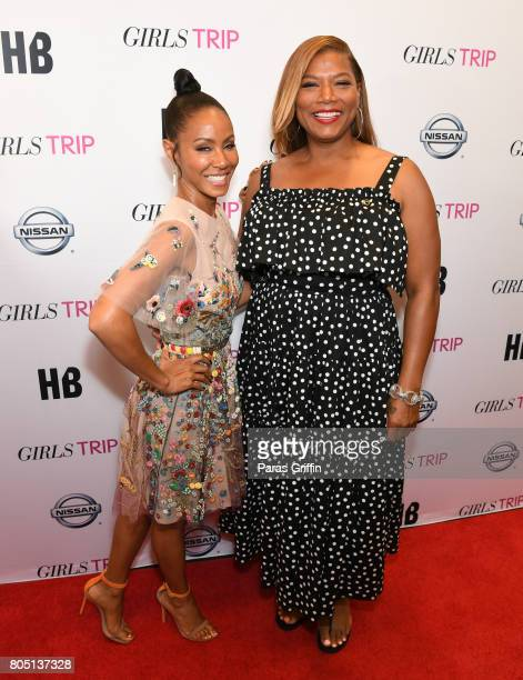 Jada Pinkett Smith and Queen Latifah at 'Girls Trip' New Orleans screening at Theatres at Canal Place on June 30 2017 in New Orleans Louisiana