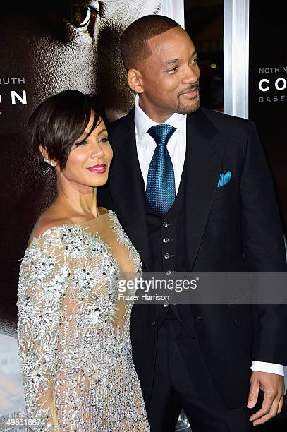 Jada Pinkett Smith and Will Smith attend Columbia Pictures screening of Concussion at Regency Village Theatre on November 23 2015 in Westwood...