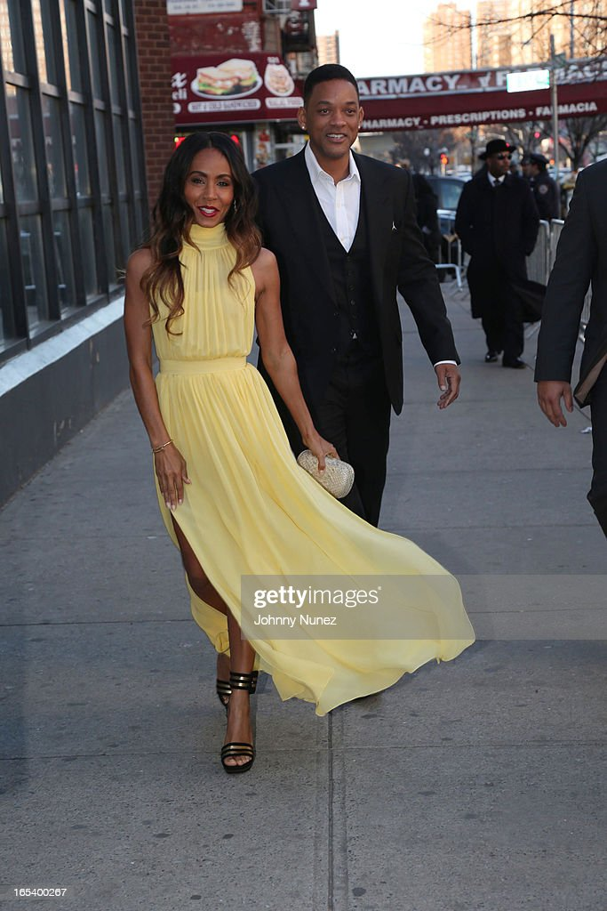 Jada Pinkett Smith and Will Smith attend the 'Free Angela and All Political Prisoners' New York Premiere at The Schomburg Center for Research in Black Culture on April 3, 2013 in New York City.