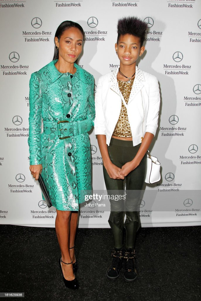<a gi-track='captionPersonalityLinkClicked' href=/galleries/search?phrase=Jada+Pinkett+Smith&family=editorial&specificpeople=201837 ng-click='$event.stopPropagation()'>Jada Pinkett Smith</a> and <a gi-track='captionPersonalityLinkClicked' href=/galleries/search?phrase=Willow+Smith&family=editorial&specificpeople=869488 ng-click='$event.stopPropagation()'>Willow Smith</a> are seen during Fall 2013 Mercedes-Benz Fashion Week at Lincoln Center for the Performing Arts on February 13, 2013 in New York City.