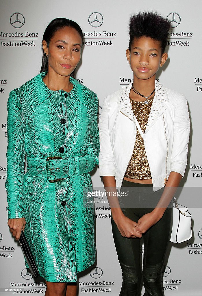 Jada Pinkett Smith and Willow Smith are seen during Fall 2013 Mercedes-Benz Fashion Week at Lincoln Center for the Performing Arts on February 13, 2013 in New York City.