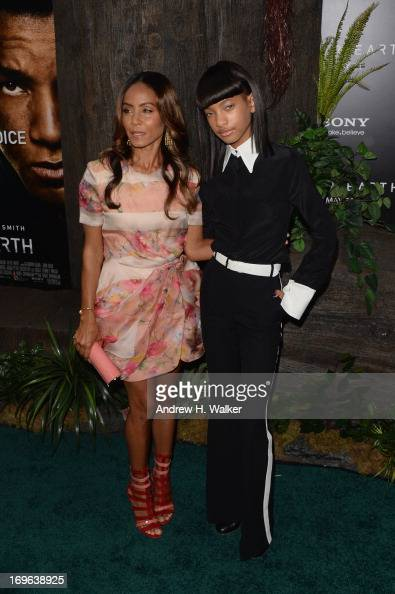 Jada Pinkett Smith and Willow Smith attend the 'After Earth' premiere at Ziegfeld Theater on May 29 2013 in New York City