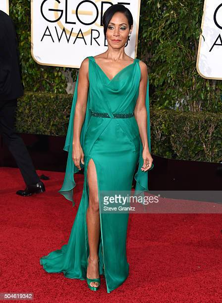 Jada Pinkett Smith arrives at the 73rd Annual Golden Globe Awards at The Beverly Hilton Hotel on January 10 2016 in Beverly Hills California
