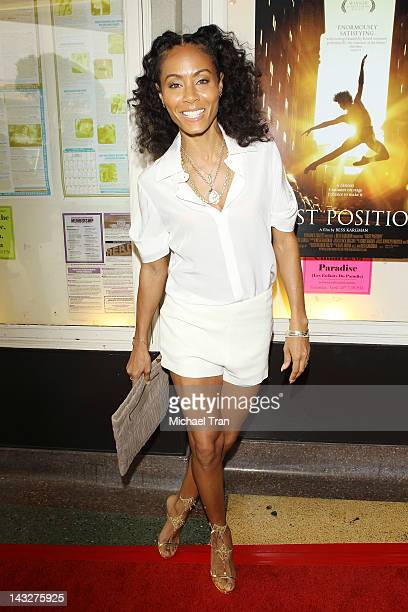 Jada Pinkett Smith arrives at the Los Angeles premiere of 'First Position' held at Aero Theatre on April 22 2012 in Santa Monica California