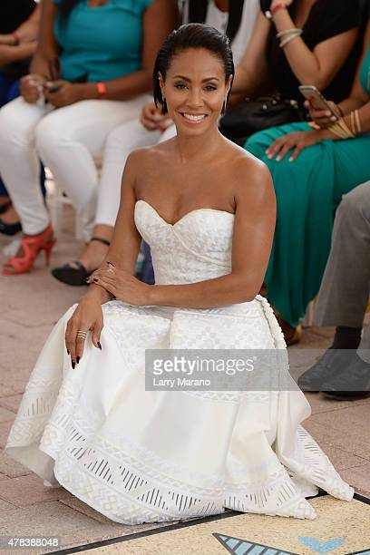 Jada Pinkett Smith attends Magic Mike XXL cast honored with stars on The Official Miami Walk Of Fame at Bayside Marketplace on June 24 2015 in Miami...