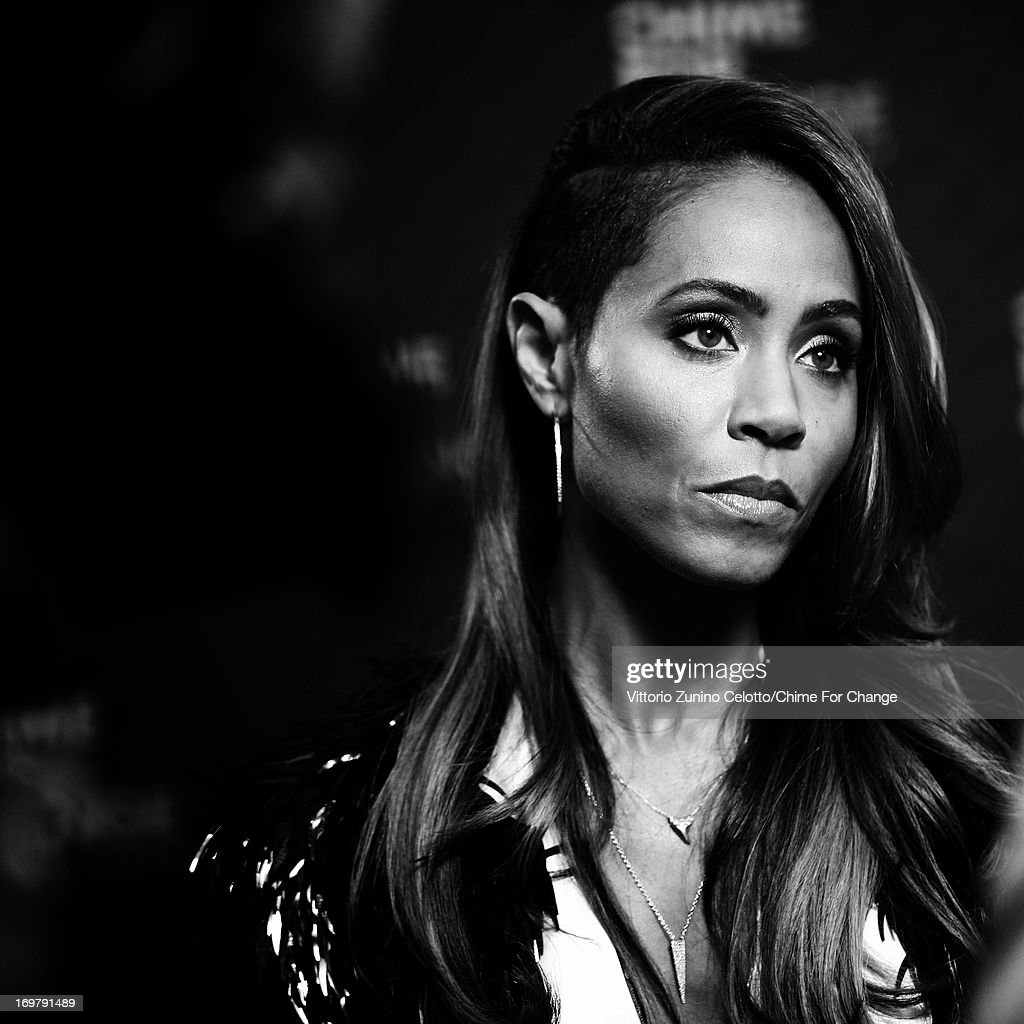 <a gi-track='captionPersonalityLinkClicked' href=/galleries/search?phrase=Jada+Pinkett+Smith&family=editorial&specificpeople=201837 ng-click='$event.stopPropagation()'>Jada Pinkett Smith</a> in the media room at the 'Chime For Change: The Sound Of Change Live' Concert at Twickenham Stadium on June 1, 2013 in London, England. Chime For Change is a global campaign for girls' and women's empowerment founded by Gucci with a founding committee comprised of Gucci Creative Director Frida Giannini, Salma Hayek Pinault and Beyonce Knowles-Carter.