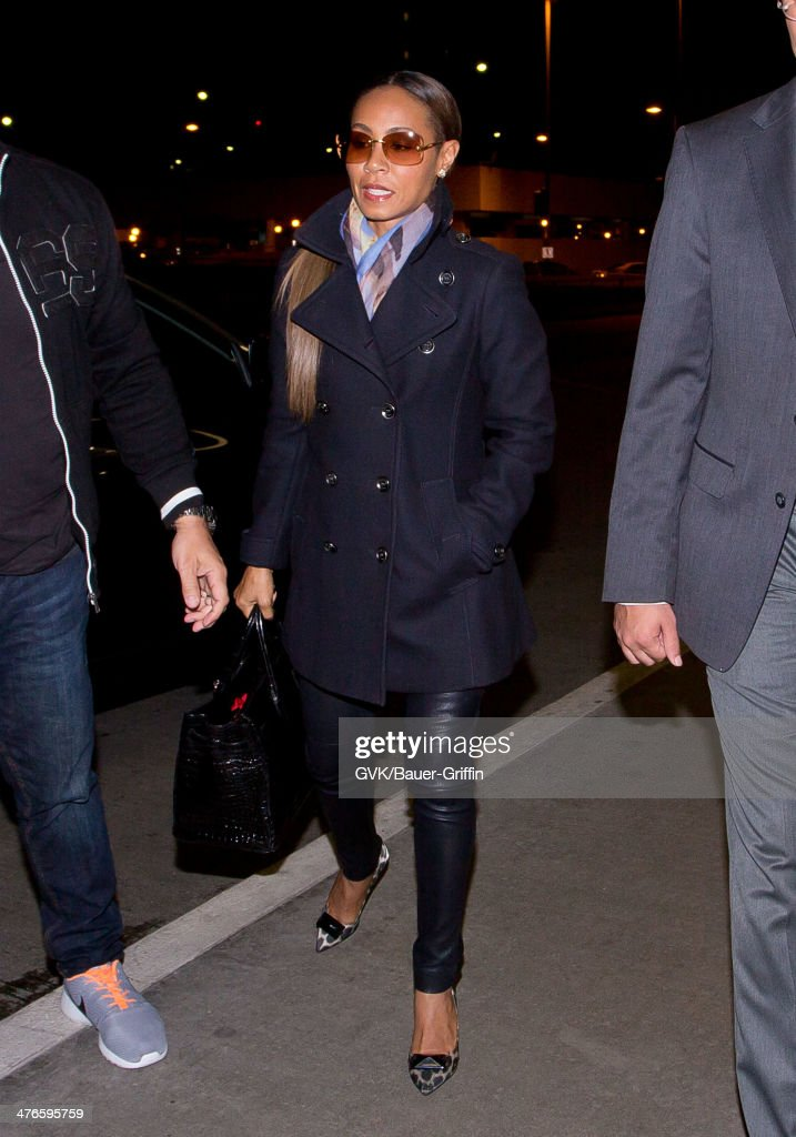 <a gi-track='captionPersonalityLinkClicked' href=/galleries/search?phrase=Jada+Pinkett+Smith&family=editorial&specificpeople=201837 ng-click='$event.stopPropagation()'>Jada Pinkett Smith</a> is seen at LAX airport on March 03, 2014 in Los Angeles, California.