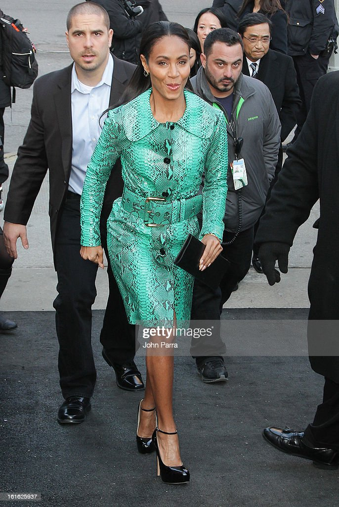 Jada Pinkett Smith is seen during Fall 2013 Mercedes-Benz Fashion Week at Lincoln Center for the Performing Arts on February 13, 2013 in New York City.