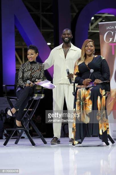 Jada Pinkett Smith Kofi Siriboe and Queen Latifah from the movie Girls Trip speak during the Essence Music Festival at the Ernest N Morial Convention...