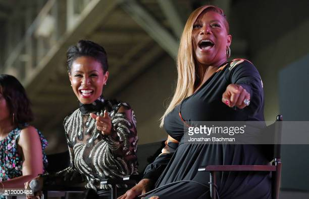 Jada Pinkett Smith left Queen Latifah from the movie Girls Trips speak during the Essence Music Festival at the Ernest N Morial Convention Center on...