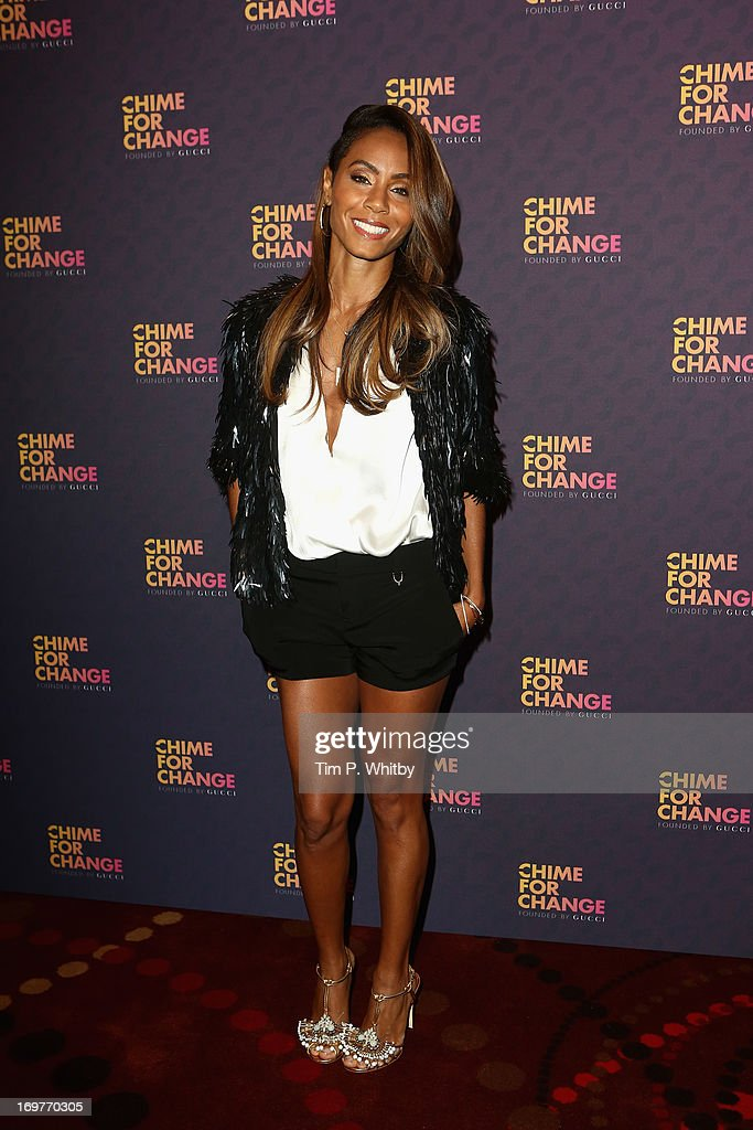 Jada Pinkett Smith poses backstage in the media room at the 'Chime For Change: The Sound Of Change Live' Concert at Twickenham Stadium on June 1, 2013 in London, England. Chime For Change is a global campaign for girls' and women's empowerment founded by Gucci with a founding committee comprised of Gucci Creative Director Frida Giannini, Salma Hayek Pinault and Beyonce Knowles-Carter.