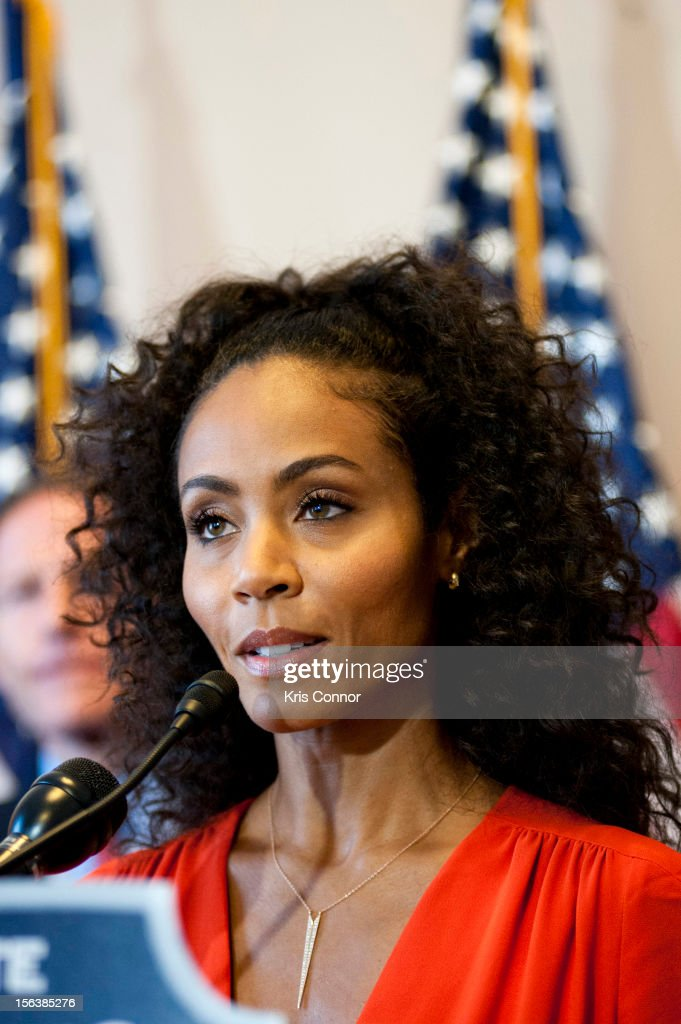 Jada Pinkett Smith speaks during the launch of the Senate Caucus to End Human Trafficking at the Russell Senate Office Building on November 14, 2012 in Washington, DC.