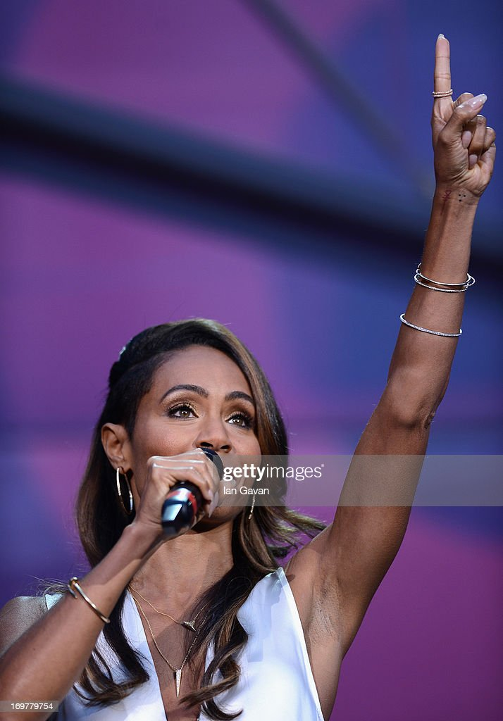 Jada Pinkett Smith speaks on stage at the 'Chime For Change: The Sound Of Change Live' Concert at Twickenham Stadium on June 1, 2013 in London, England. Chime For Change is a global campaign for girls' and women's empowerment founded by Gucci with a founding committee comprised of Gucci Creative Director Frida Giannini, Salma Hayek Pinault and Beyonce Knowles-Carter.