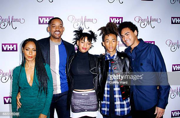 Jada Pinkett Smith Will Smith Willow Smith Jaden Smith and Trey Smith attend the VH1 'Dear Mama' taping at St Bartholomew's Church on May 3 2016 in...