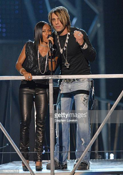 Jada PinkettSmith and Criss Angel presenters during 2007 VH1 Rock Honors Show at Mandalay Bay in Las Vegas Nevada United States