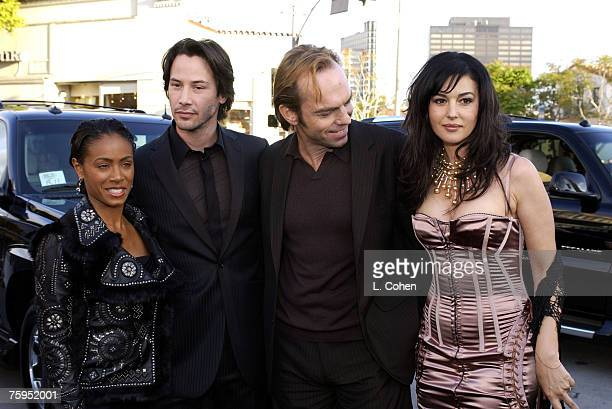 Jada PinkettSmith Keanu Reeves Hugo Weaving and Monica Bellucci of 'The Matrix Reloaded' May 2003