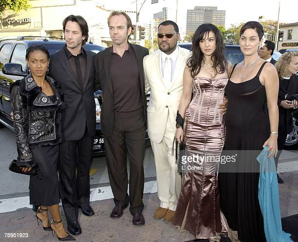 Jada PinkettSmith Keanu Reeves Hugo Weaving Laurence Fishburne Monica Bellucci and CarrieAnne Moss of 'The Matrix Reloaded' May 2003