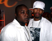 Jadakiss and Allen Iverson during 2005 BET Awards After Party at The Highlands in Hollywood California United States
