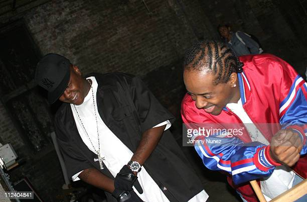 Jadakiss and Jermaine Dupri during Bone Crusher Remix Video Shoot Featuring Busta Rhymes Camron Juelz Santana and Jadakiss at Broadway Warehouse in...
