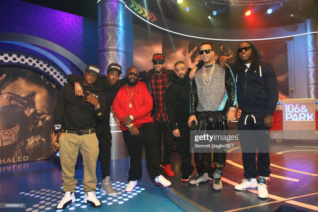 Jadakiss, Meek Mill, Rick Ross, Swizz Beatz, DJ Khaled, French Montana, and Ace Hood visit 106 & Park at 106 & Park studio on October 22, 2013 in New York City.