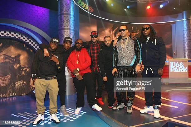 Jadakiss Meek Mill Rick Ross Swizz Beatz DJ Khaled French Montana and Ace Hood visit 106 Park at 106 Park studio on October 22 2013 in New York City