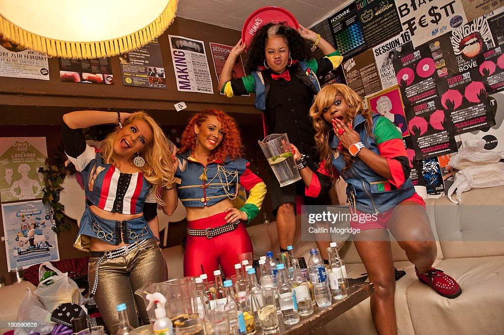Jade, AJ, V.Vee and Cheekz of Vida pose for a photo backstage at Queen Of Hoxton on August 22, 2012 in London, United Kingdom.