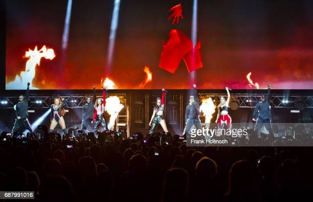 Jade Amelia Thirlwall Jessica Louise Nelson LeighAnne Pinnock and Perrie Louise Edwards of the British band Little Mix perform live on stage during a...