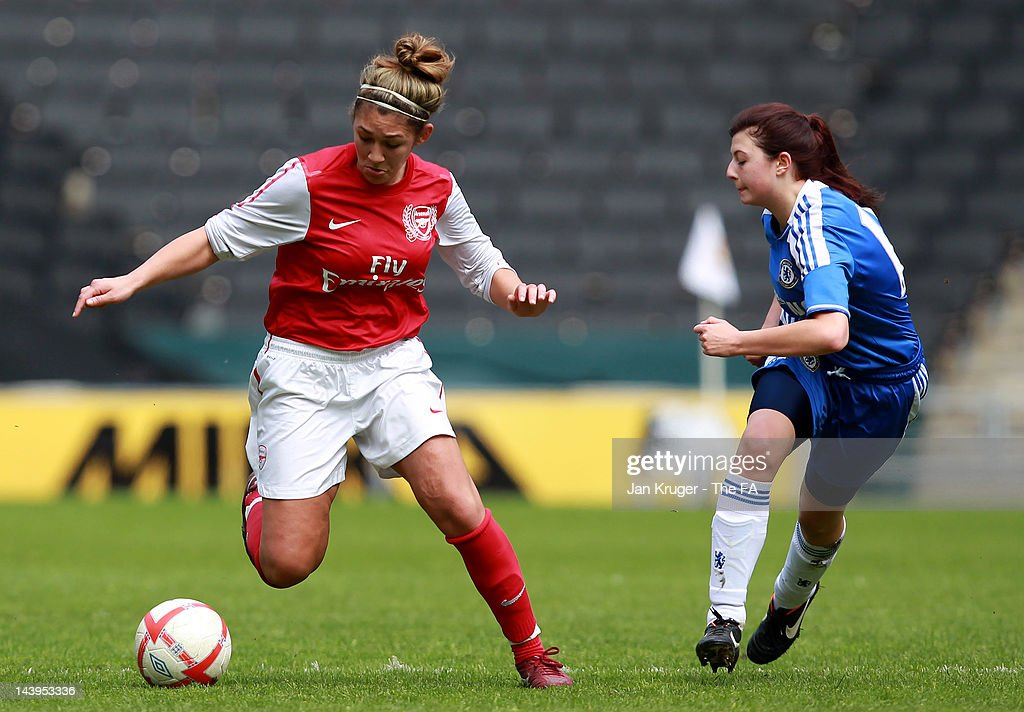 Jade Bailey of Arsenal evades the tackle of Fern Colepio of Chelsea during the FA Girls' Youth Cup U17s Centre of Excellence Final between Arsenal and Chelsea at Stadium MK on May 6, 2012 in Milton Keynes, England.