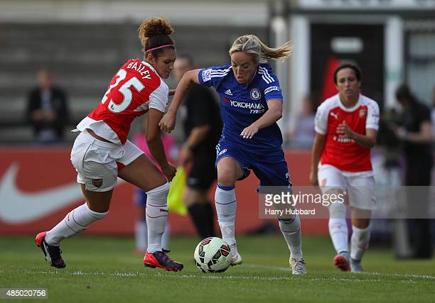 Jade Bailey of Arsenal Ladies FC and Gemma Davison of Chelsea Ladies FC during the FA WSL match between Arsenal Ladies FC and Chelsea Ladies FC at...