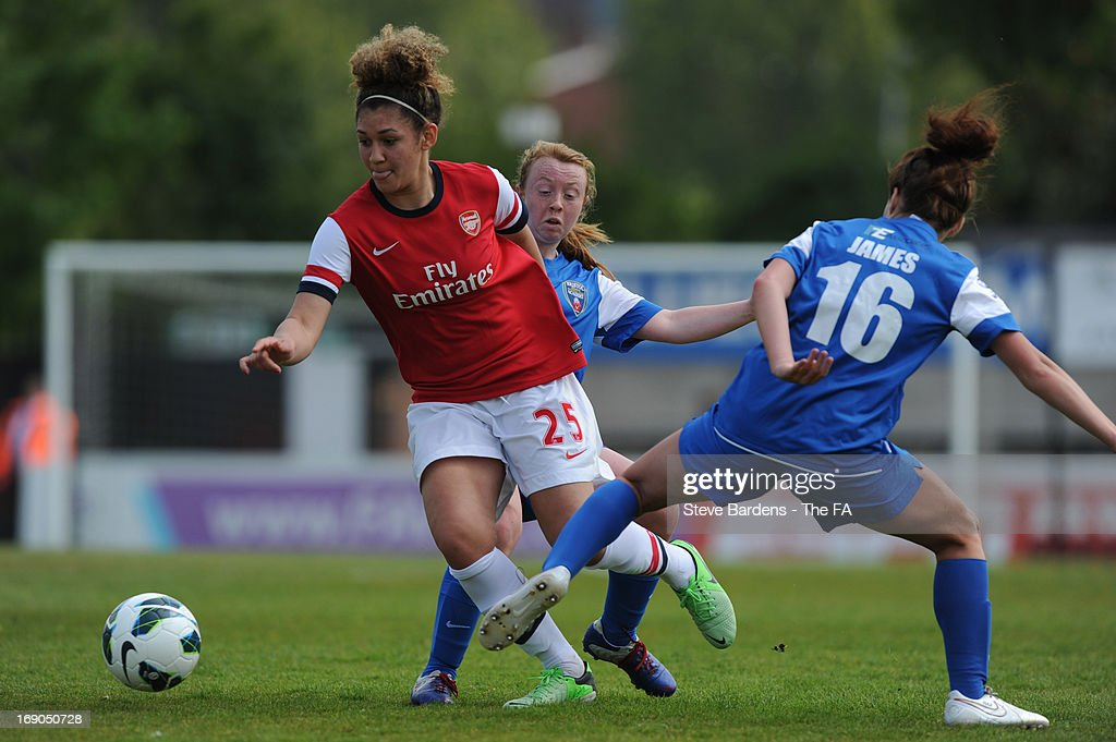 Jade Bailey of Arsenal Ladies FC takes on Angharad James of Bristol Academy Women's FC during the FA WSL Continental Cup match between Arsenal Ladies FC and Bristol Academy>> at Meadow Park on May 19, 2013 in Borehamwood, England.