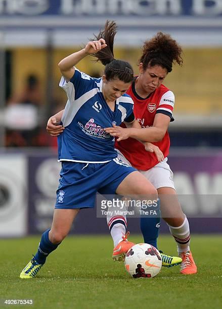 Jade Bailey of Arsenal Ladies tackles Karen Carney of Birmingham City Ladies during the WSL match between Arsenal Ladies and Birmingham City Ladies...